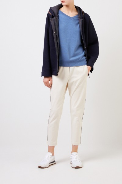 Cashmere sweater with pearl detail Blue