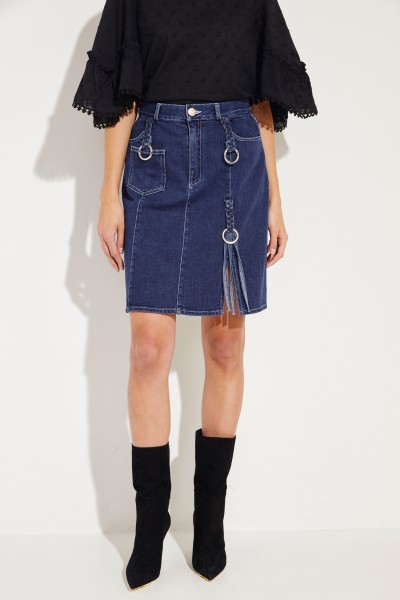 Jeans skirt with braided details Blue