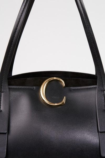 Chloé Medium Shopper with Zipper Sepia Brown