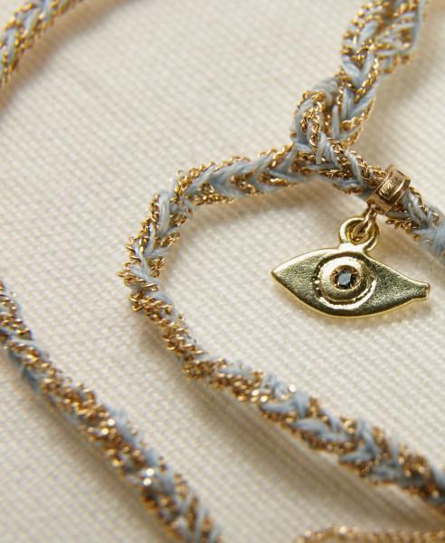 Carolina Bucci Armband 'Lucky Bracelet' Hellblau/18 Kt. Gelbgold