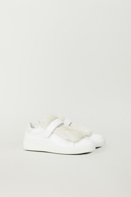 Leder-Sneaker 'Lucie' mit Felldetail Weiß