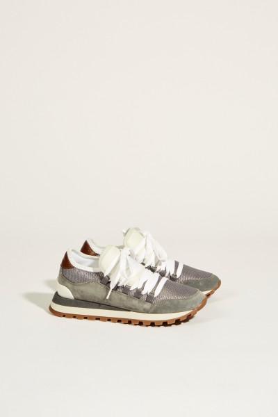 Veloursleder-Sneaker Blau/Weiß