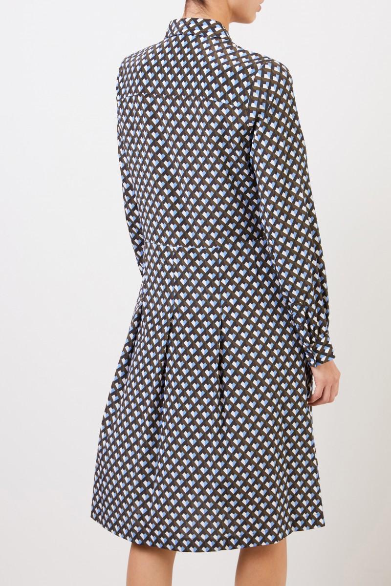 Seiden-Hemdblusenkleid mit Print Multi