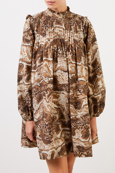 Ganni Kurzes Kleid mit Print Beige/Multi