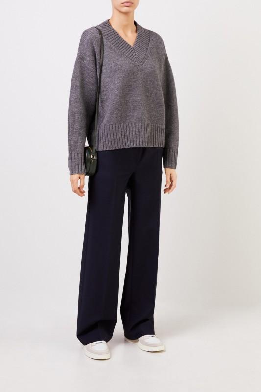 Joseph V-Neck Woll-Cashmere Pullover Grau