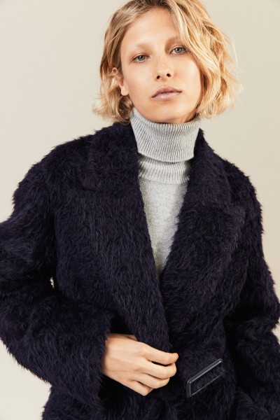 Langer Woll-Alpaca-Mantel mit Gürtel Blau