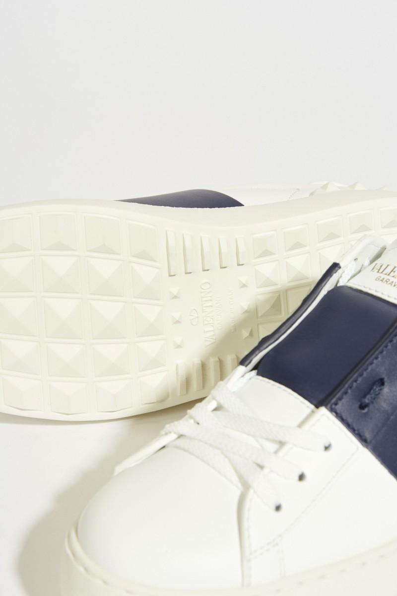 Sneaker mit Nieten-Details Weiß/Marineblau
