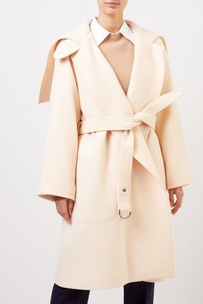 Chloé Long wool coat with belt Seedpearl Beige