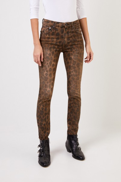 R13 Skinny Jeans 'High Rise Skinny' Leopard