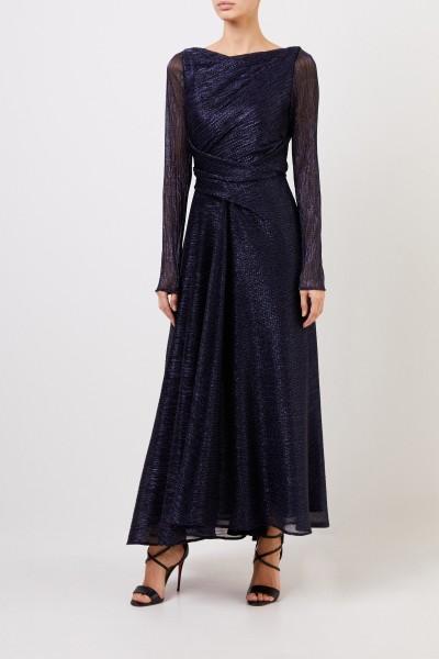 Long evening dress with lurex details Dark Blue