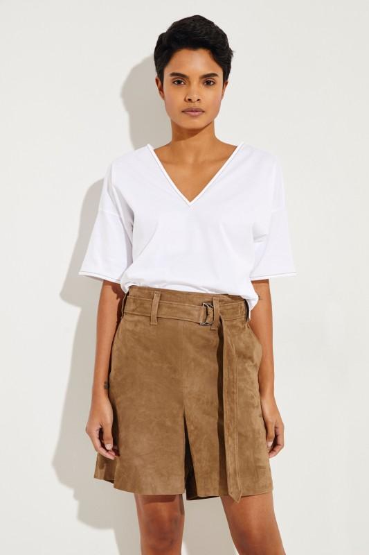 Baumwoll T-Shirt mit Perlen-Details Weiß