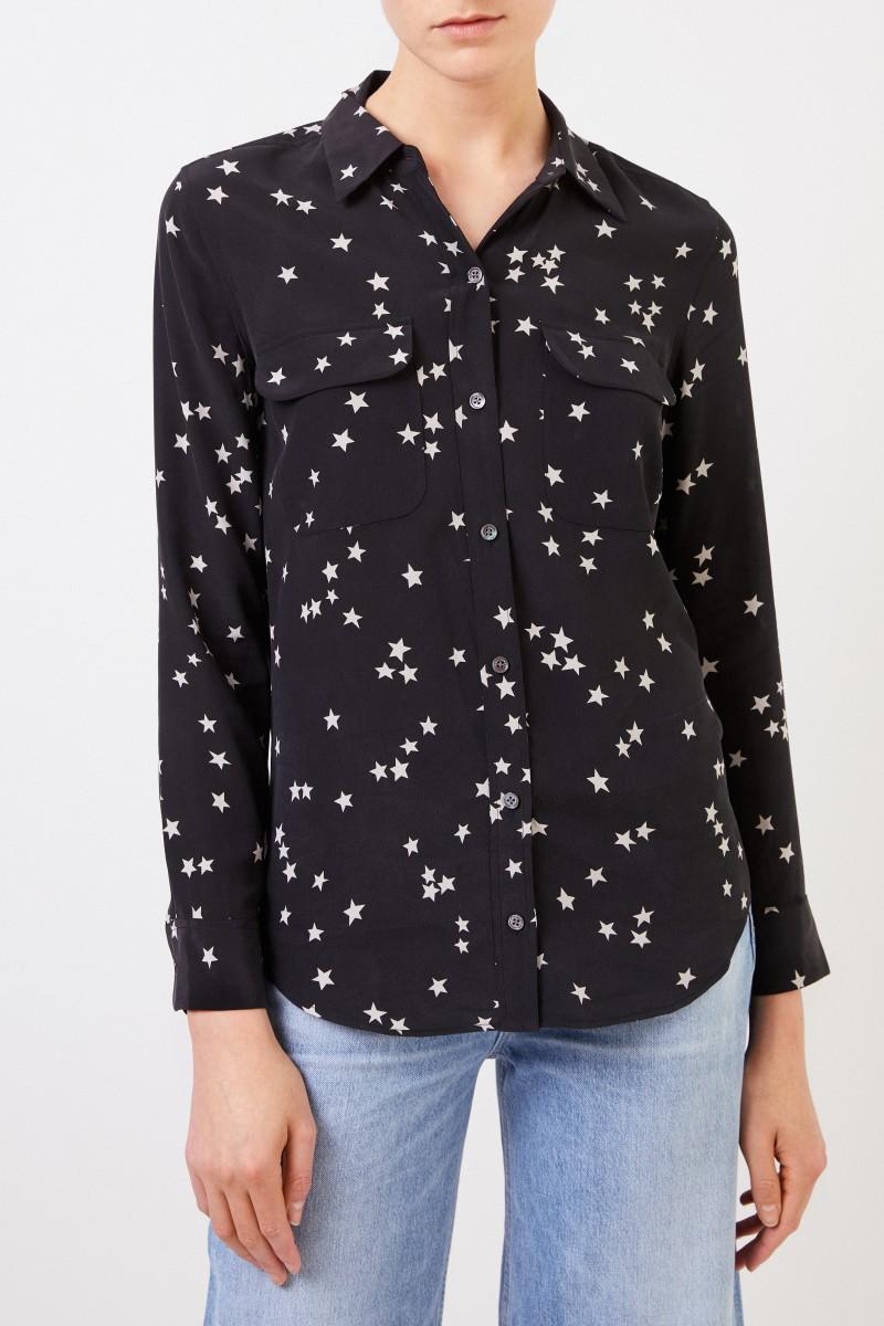 Seiden-Bluse 'Slim Signature' mit Sternenmotiv Schwarz/Weiß