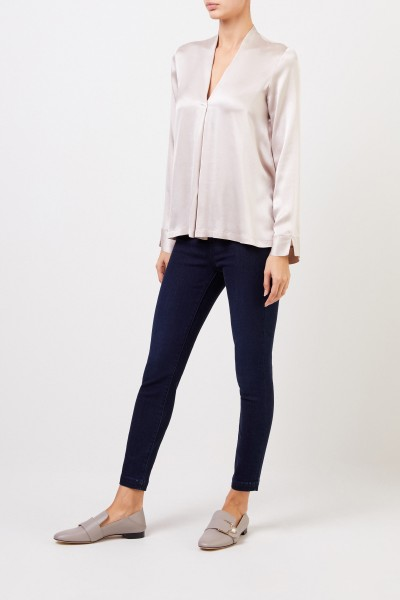 Silk Blouse 'Bailey' with V-Neck Champagne