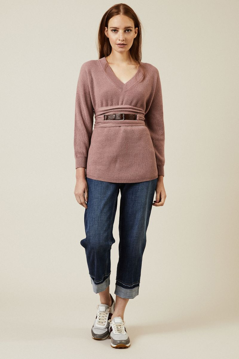 Cashmere-Pullover mit Gürtel Rosé