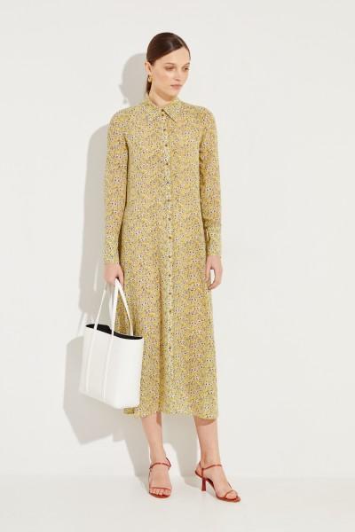 Seiden-Hemblusenkleid mit floralem Print 'Maggie' Gelb/Multi