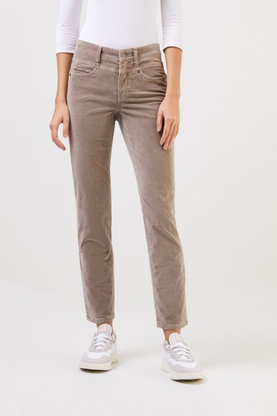 Cambio Classic trousers 'Posh' with pearl adornment Taupe