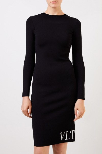 Valentino Knitted dress with logo detail Black