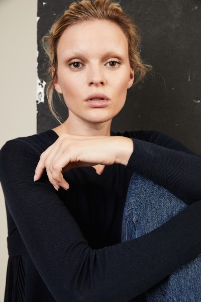 Pullover mit Plissee-Einsatz Dunkelblau