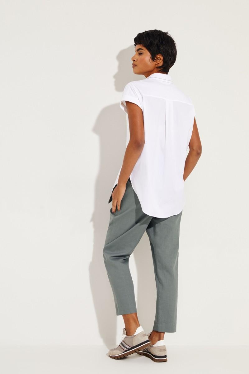 Kurzarm-Bluse Weiß