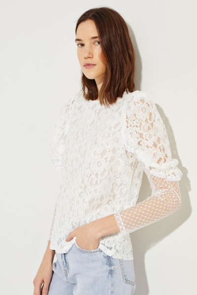 797412618f2ff8 Lace blouse with sleeve detail White