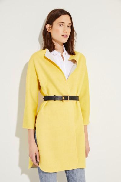 Woll-Mantel Gelb/Beige