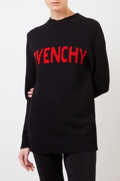 Givenchy Baumwoll-Pullover mit Logo-Detail Schwarz/Rot