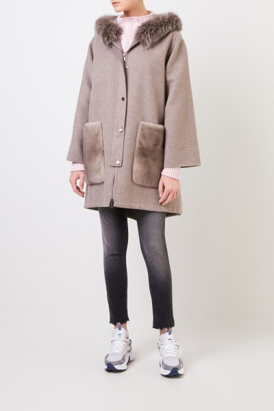 Manzoni 24 Wool-cashmere coat with mink trimming Taupe