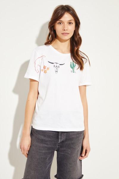 T-Shirt mit Logoapplikation Weiß