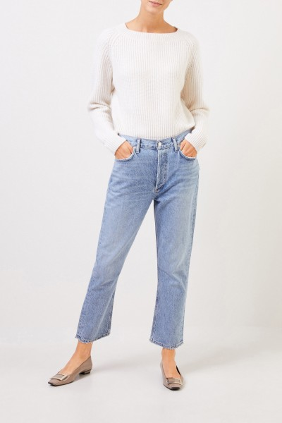 Rib knit cashmere pullover White