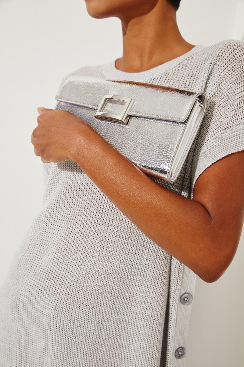 Leder-Clutch 'VIV Enveloppe Flap' Silber