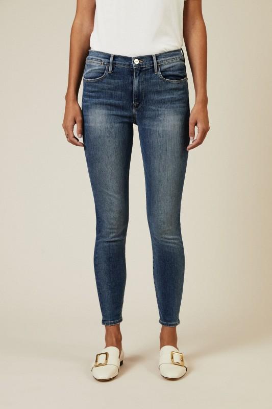 Skinny Jeans 'Le High Skinny' mit Auswaschungen Blau