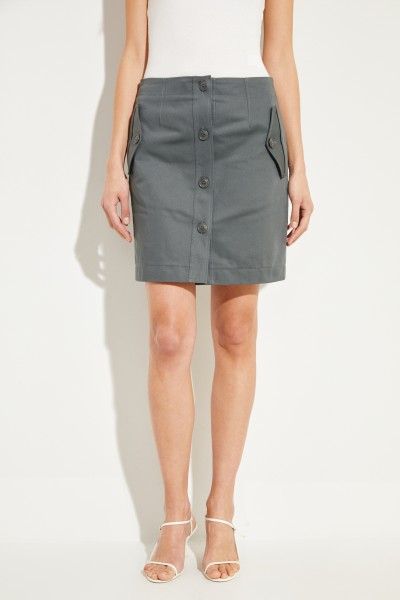 Short cotton skirt with buttons Sage
