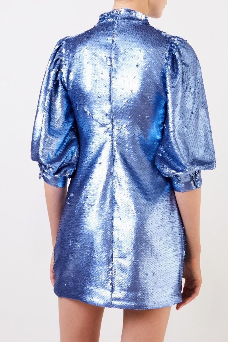 Ganni Kurzes Paillettenkleid Blau
