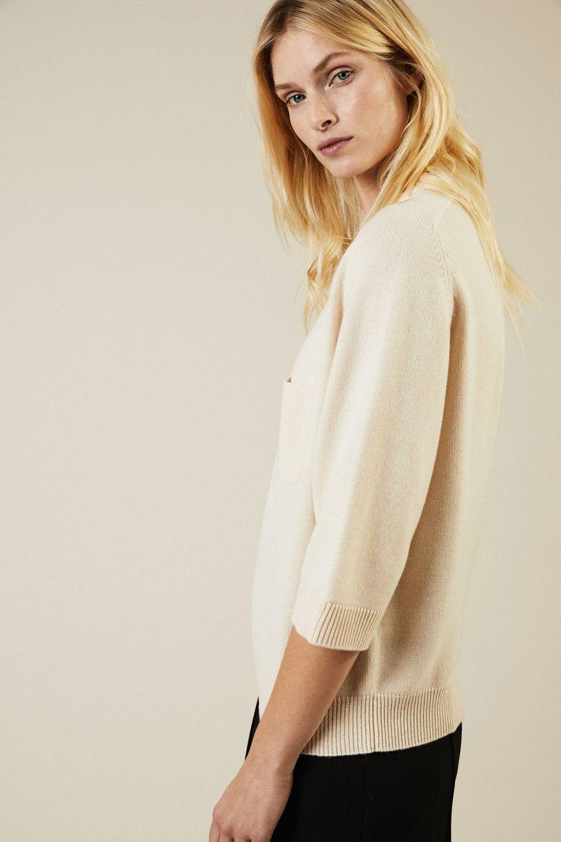 Cashmere Pullover mit aufgesetzter Brusttasche Créme