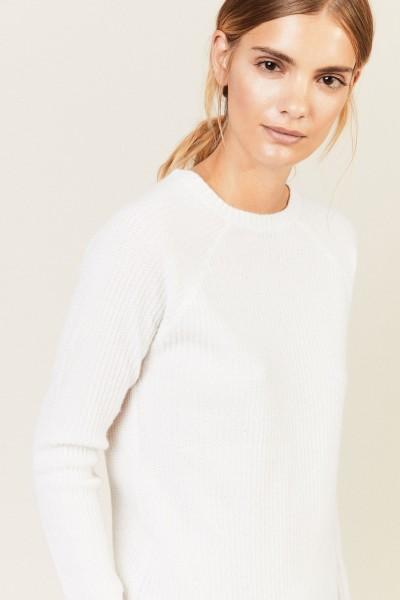 Rippstrick Cashmere-Pullover Crèmeweiß