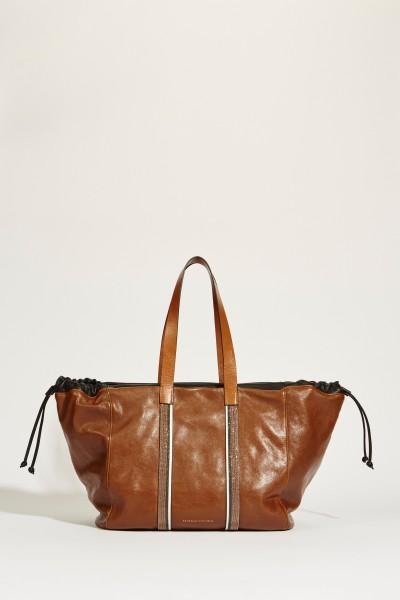 Leder-Shopper mit Perlendetails Braun/Multi