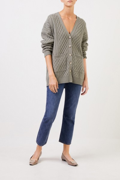 Uzwei Cashmere cardigan with cable stitch Sage