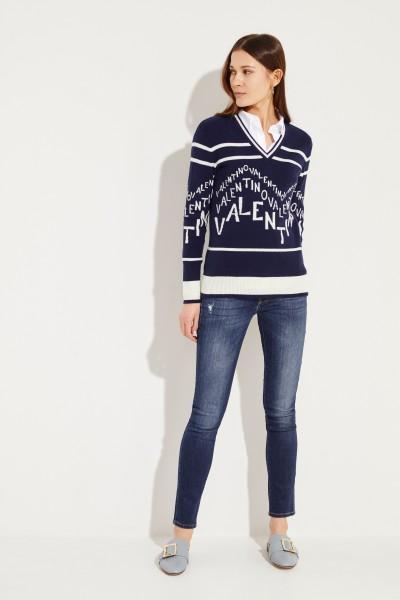 Woll-Cashmere V-Nek Pullover Marineblau/Crème