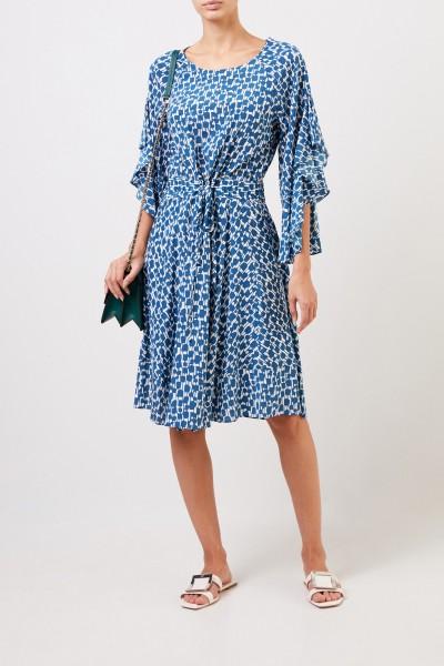 Seidenkleid mit Mustermix Blau/Weiß