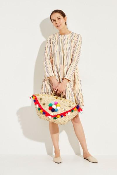 Midi-Kleid mit Streifenmuster Crème/Multi