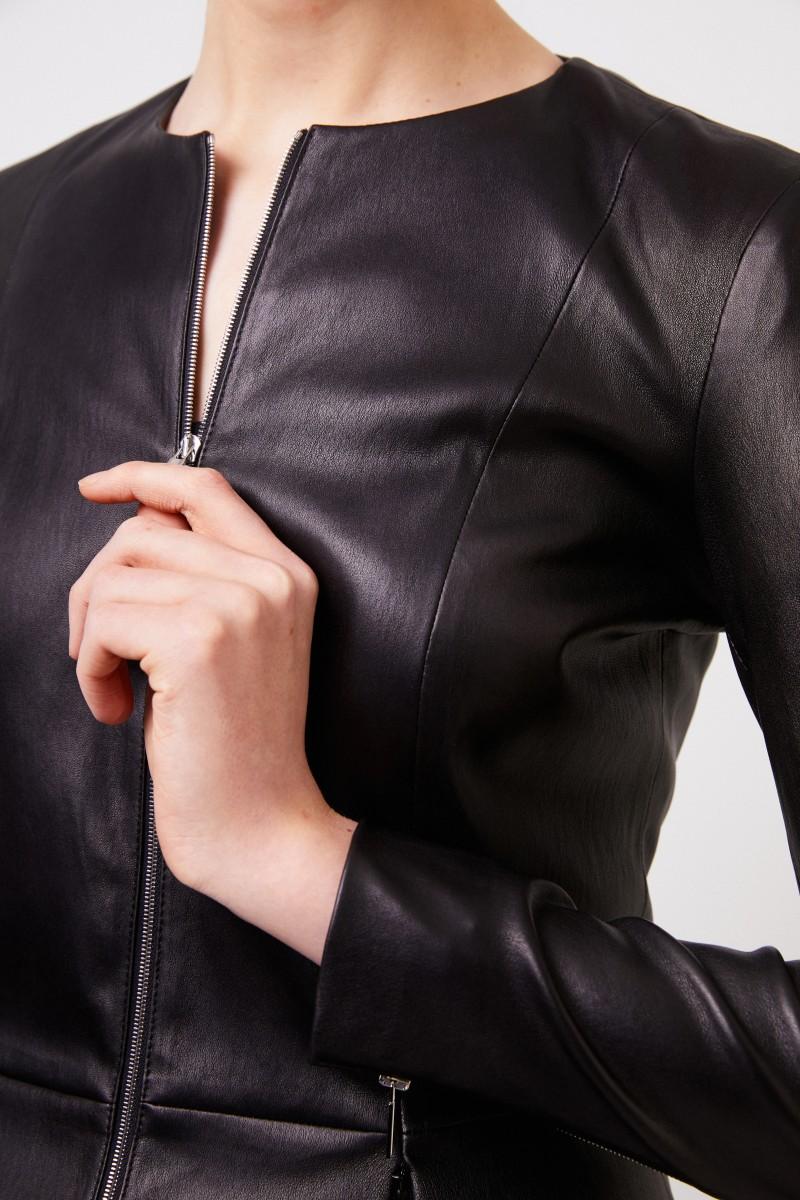 Lammleder-Jacke mit Reißverschlüssen Schwarz