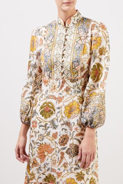 Zimmermann Langes Leinen-Kleid 'Edie' mit Paisleymuster Crème/Multi