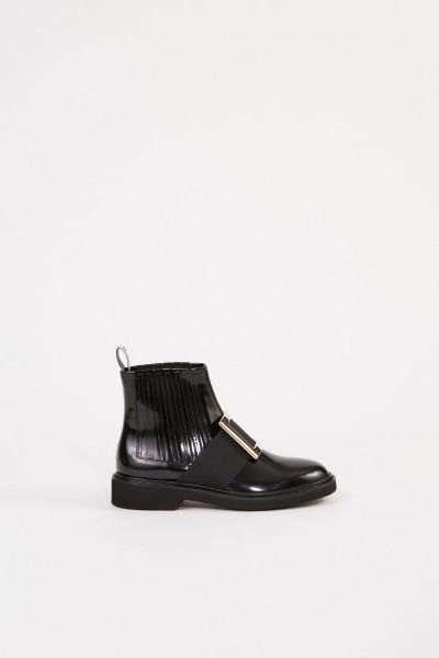 Roger Vivier Chelsea Boots 'Viv Rangers Metal Buckle' Black