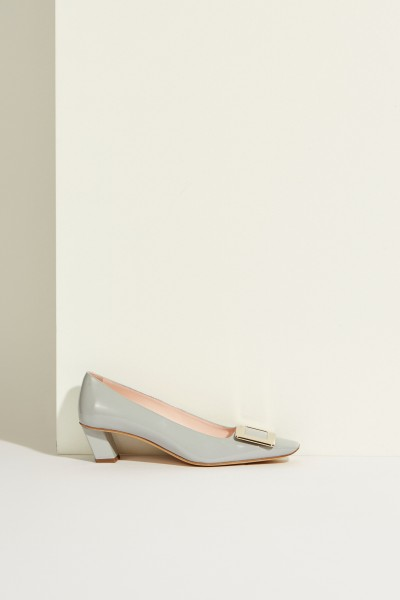 Patent leather pump 'Belle Vivier' with buckle light Blue