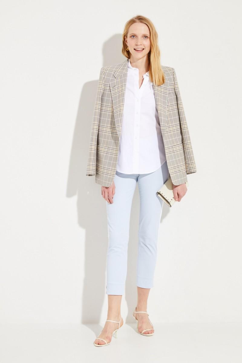 Baumwoll-Bluse mit verkürzten Ärmeln Weiß