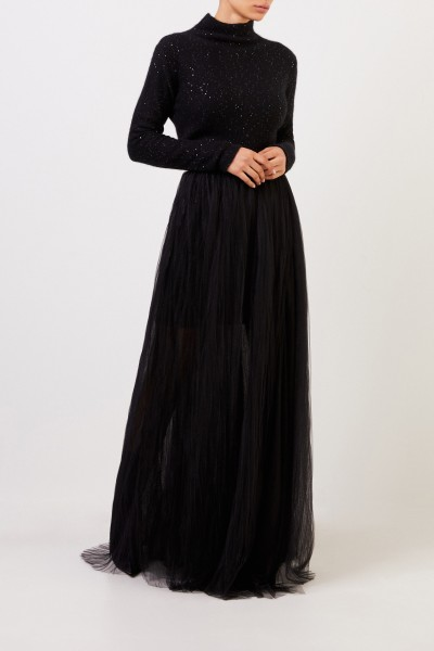 Fabiana Filippi Wool silk dress with sequins Black