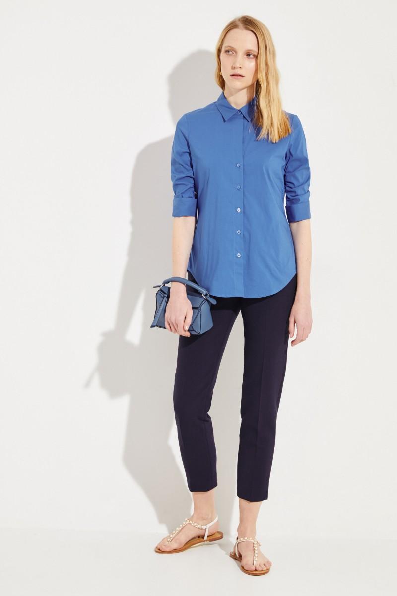 Bluse mit verkürzten Ärmeln Kobaltblau