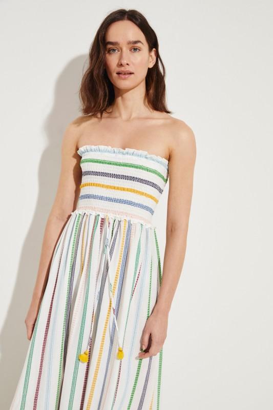 Baumwoll-Bandeau-Kleid 'Camila Shirring' mit Stickerei Multi