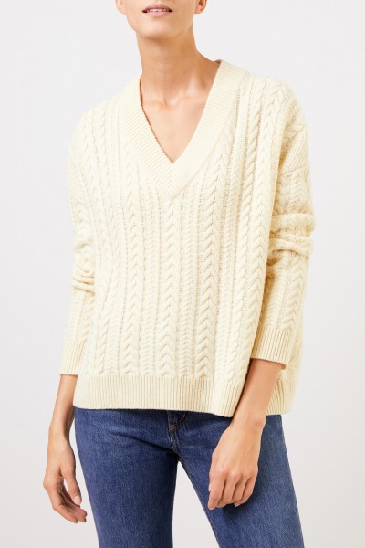 Uzwei V-neck cashmere pullover with cable stitch Light Yellow