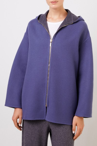 Colombo Reversible cashmere coat with hood Blue/Grey